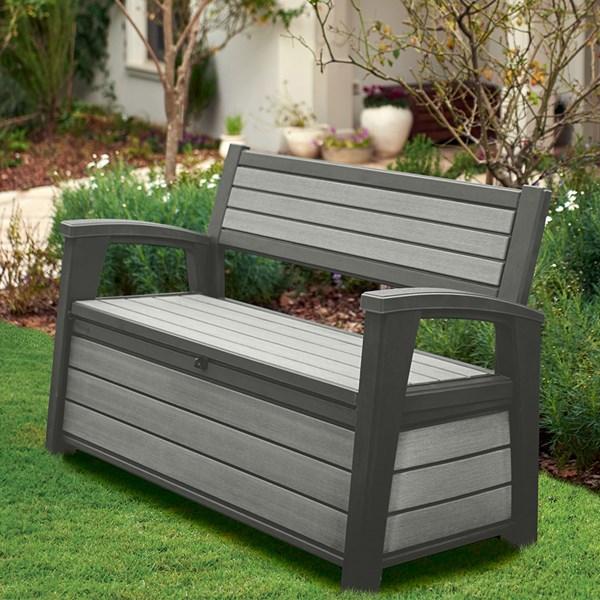 Keter Hudson Garden Storage Bench in Grey