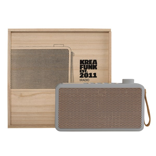 Grey and Gold Wireless Speaker and Digital Radio