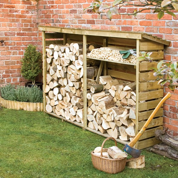 Rowlinson Large Garden Log Store in Natural Timber
