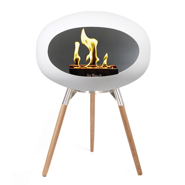 Le Feu Ground Low Bio Ethanol Fireplace in White