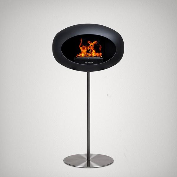 Le Feu Ground Wood Bio Ethanol Fireplace in Black