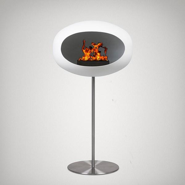 Le Feu Ground Wood Bio Ethanol Fireplace in White