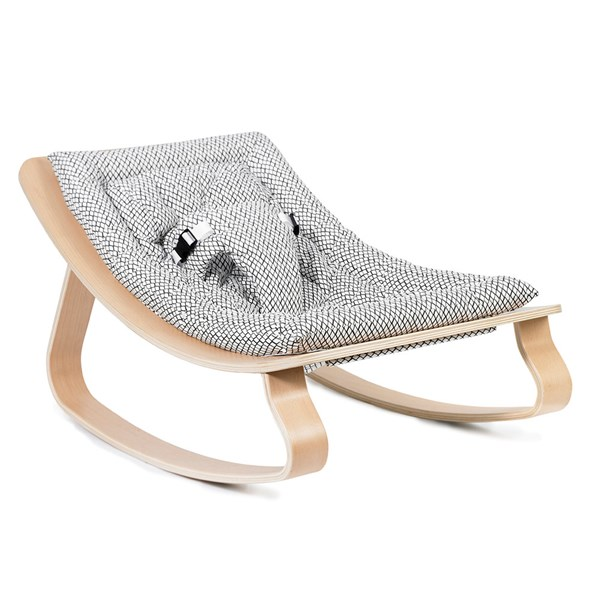 Levo Baby Rocker in Beech Wood with Black and White Diamond Cushion