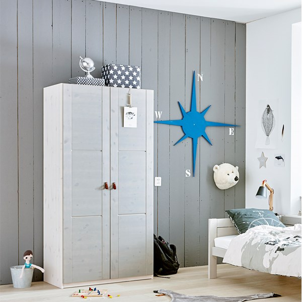 Childrens Modern Double Wardrobe in White