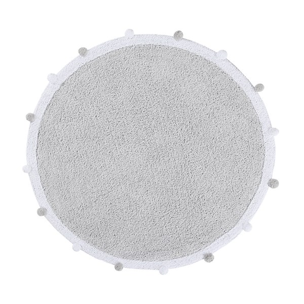 Circular Rugs with Pom Poms in Light Grey