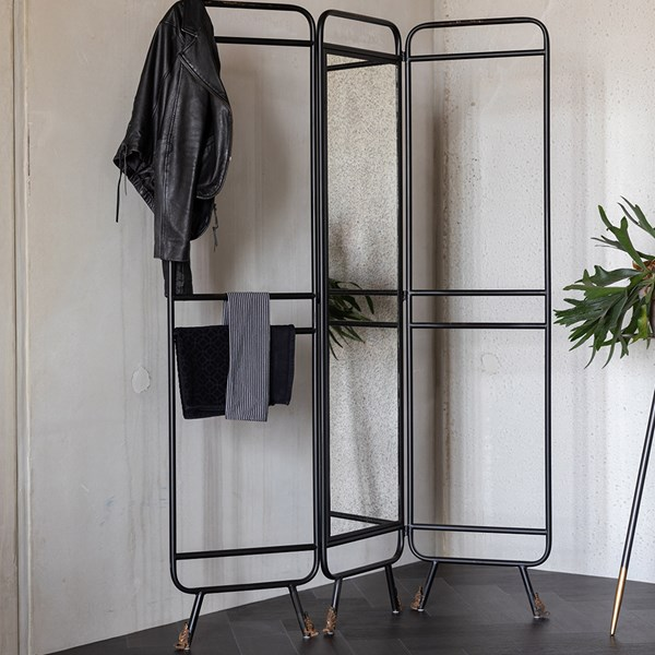 Metal Room Divider with 3 Panels