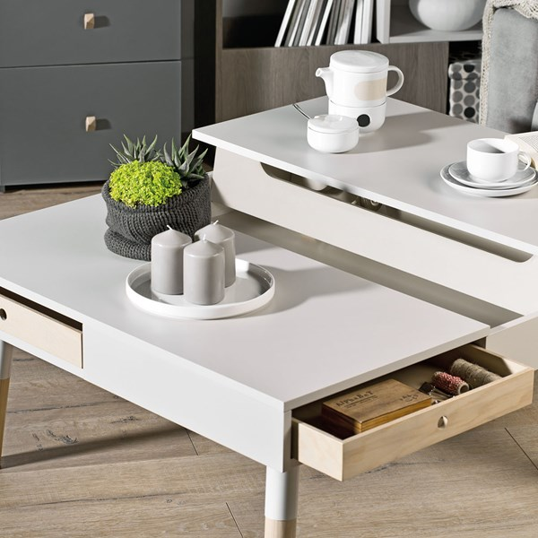 Lori Coffee Table with Storage in Cashmere by Vox