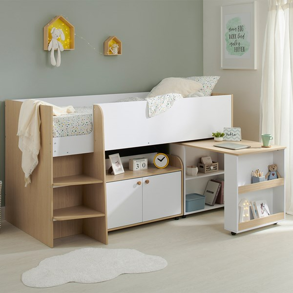 Louis Mid Sleeper With Desk And Storage