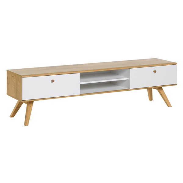 Nature Wooden TV Stand in White & Oak