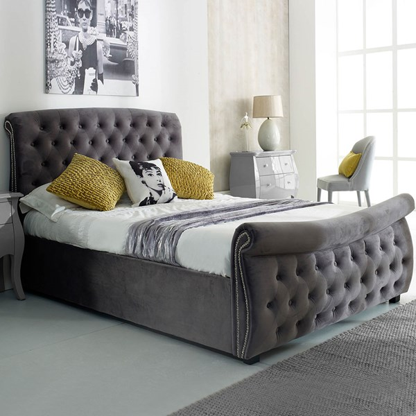Lucinda Upholstered Side Ottoman Bed in Silver by Flair Furnishings