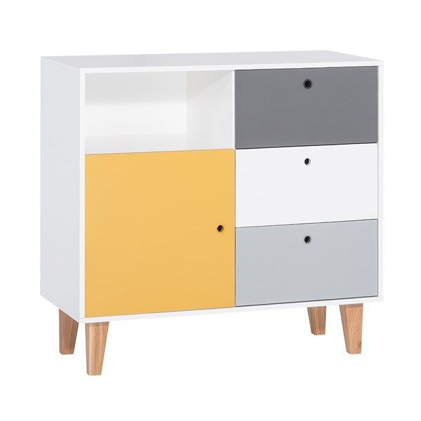 Vox Concepth Chest of Drawers in Grey and Yellow