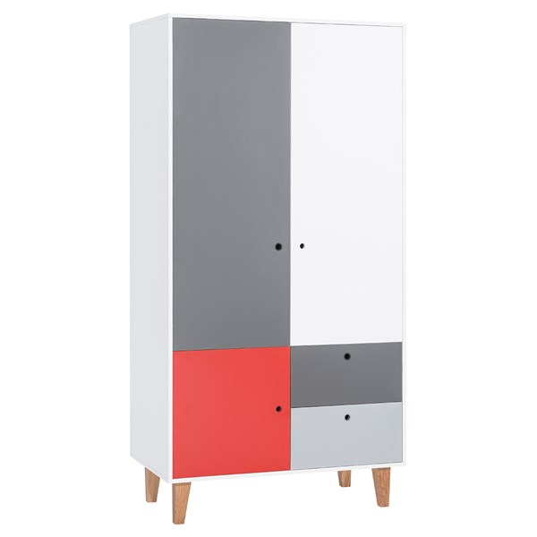 Vox Concept 2 Door Wardrobe in Grey & Red