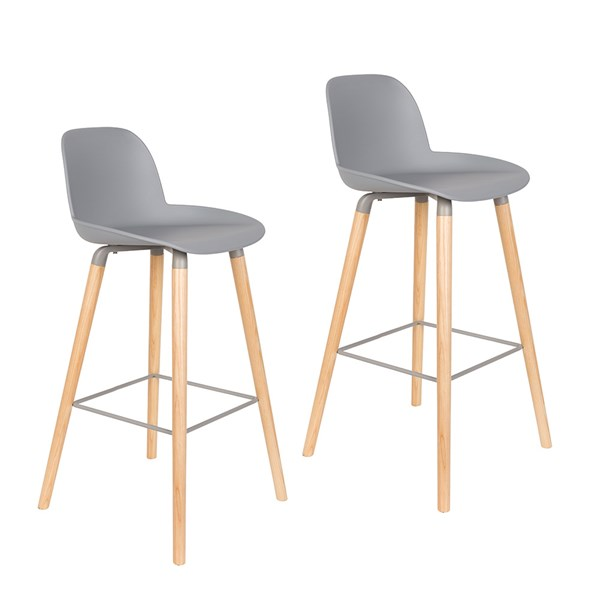 Zuiver Pair of Albert Kuip Retro Moulded Bar Stools in Light Grey