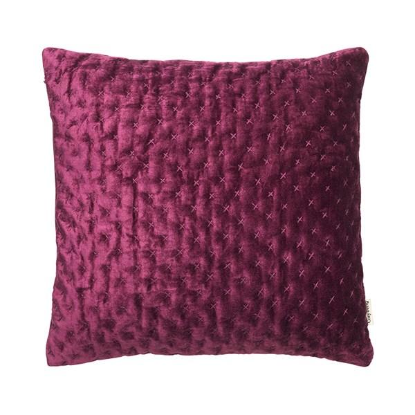 Velvet Embroidered Cushion in Boysenberry