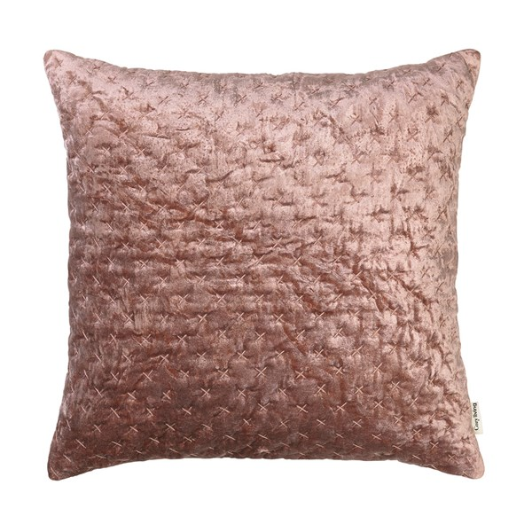 Velvet Embroidered Cushion in Rouge
