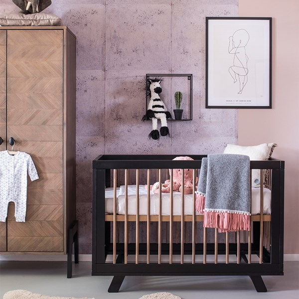 Sophisticated Black and Wood Cot