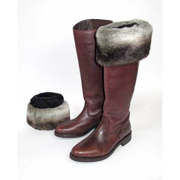 FAUX FUR Boot Toppers in Chinchilla