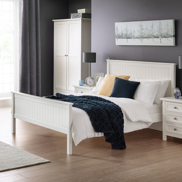 Maine Wooden Bed in Surf White by Julian Bowen