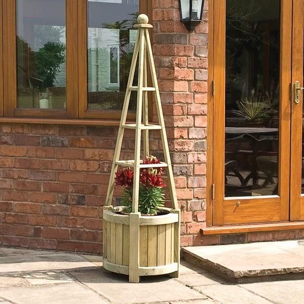 Rowlinson Marberry Obelisk Wooden Planter