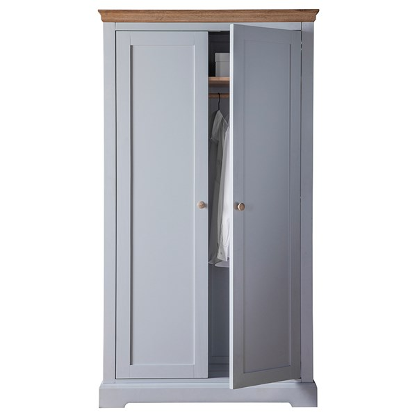 Marlow 2 Door Wardrobe in Grey by Frank Hudson
