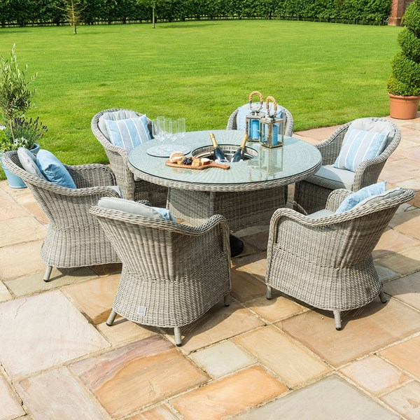 Oxford Round Outdoor Dining Set with Ice Bucket