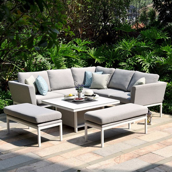 Maze Rattan Pulse Square Corner Dining Set with Rising Table