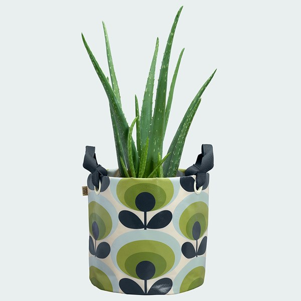 Orla Kiely Medium Fabric Plant Bag in 70s Oval Flower Green Print