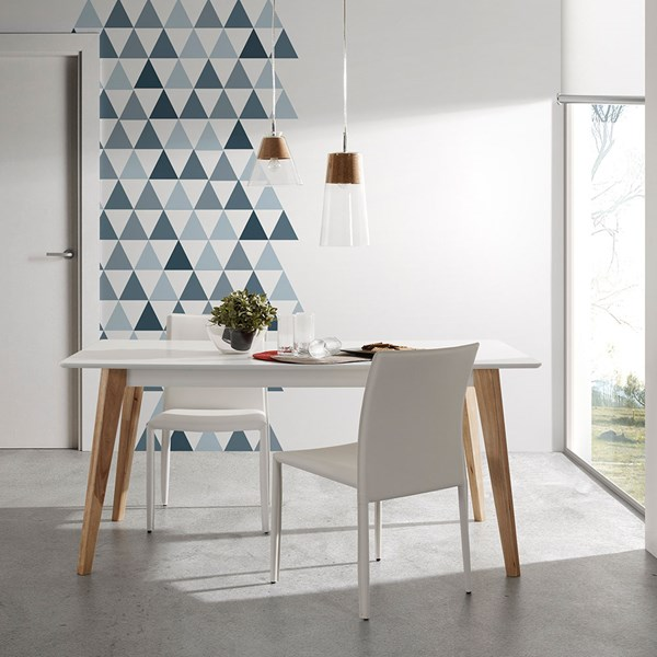 Meety Modern Dining Table in White & Oak