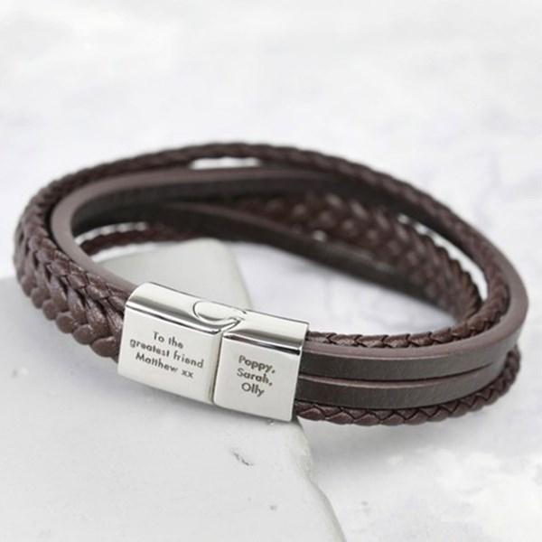 Personalised Men's Layered Leather Bracelet