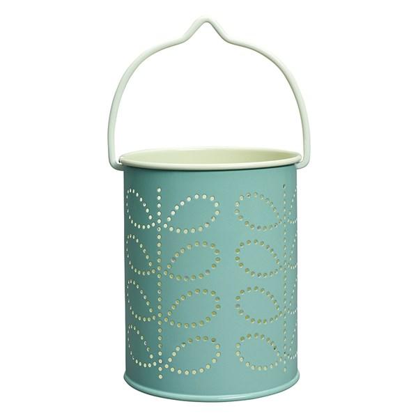 Orla Kiely Tea Light Lantern in Duck Egg Blue Linear Stem Print
