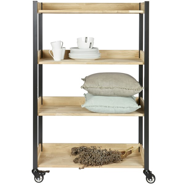 Huib Oak and Metal Storage Trolley with Wheels