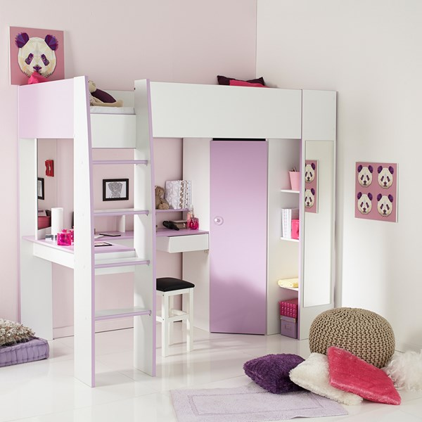 Parisot Mila Highsleeper in White with Pullout Desk and Storage