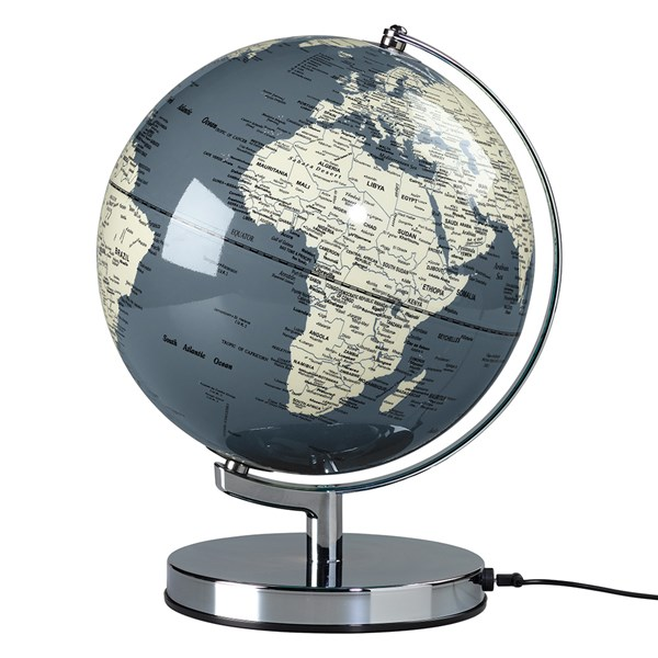 USB and Mains Powered Globe Light in Concrete Grey