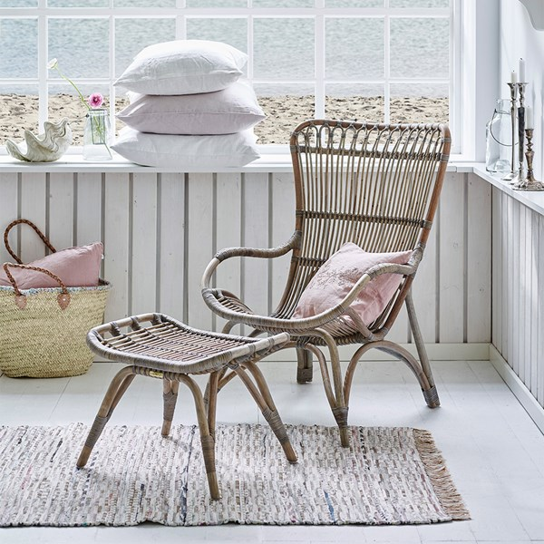 Scandinavian Style Natural Rattan Chair in Taupe