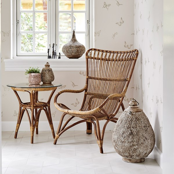Sika Rattan Monet Wingback Chair in Antique