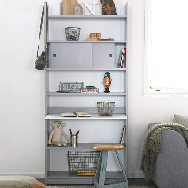 Morris Bookcase with Fold Away Desk in Grey