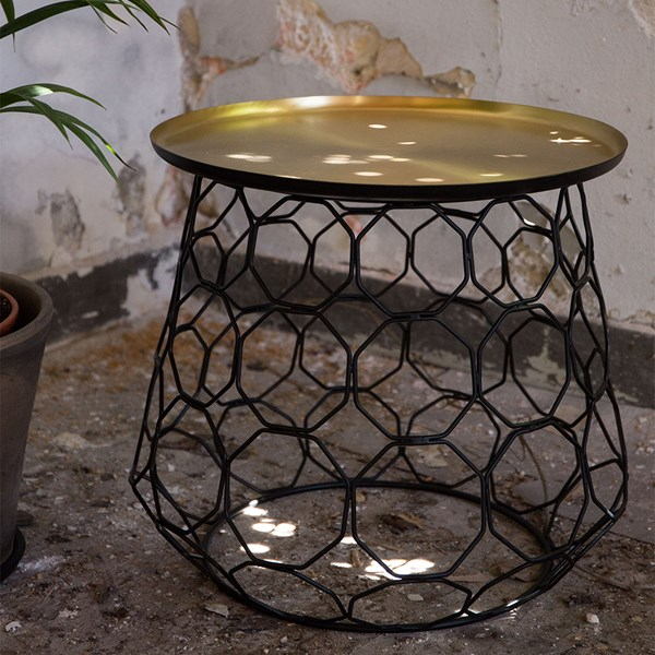 Moulin Decorative Round Side Table with Brass Plated Top