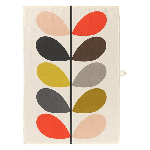 Orla Kiely Single Linen Mix Tea Towel in Multistem Print