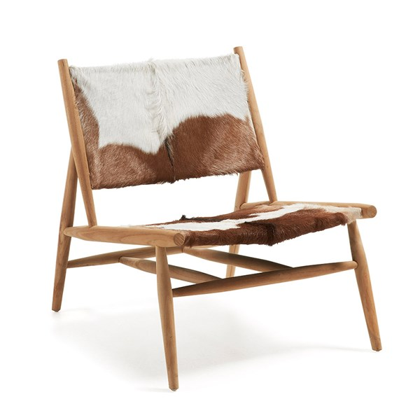 Ike Teak Chair with Goat Leather Seat by La Forma