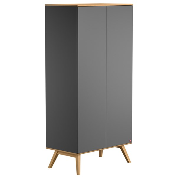 Nature Double Wardrobe in Dark Grey & Oak