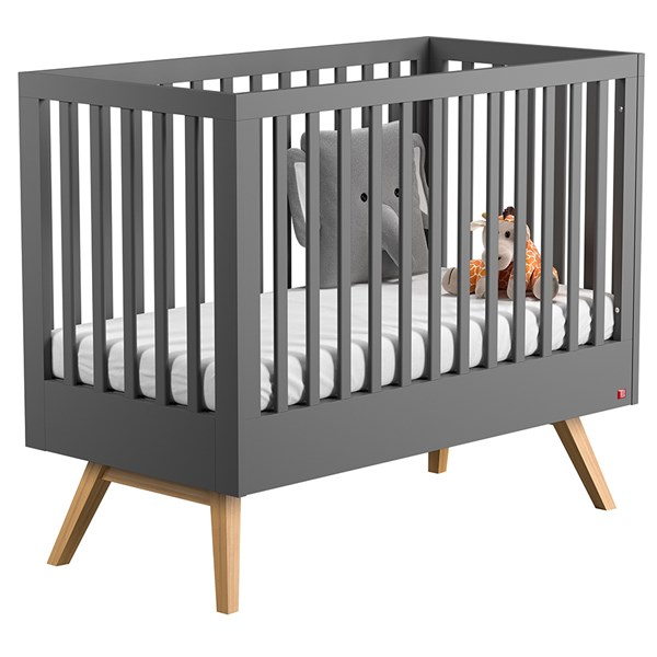 Nature Baby and Toddler Cot Bed in Dark Grey & Oak