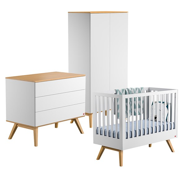 Nature Cot 3 Piece Nursery Set in White & Oak