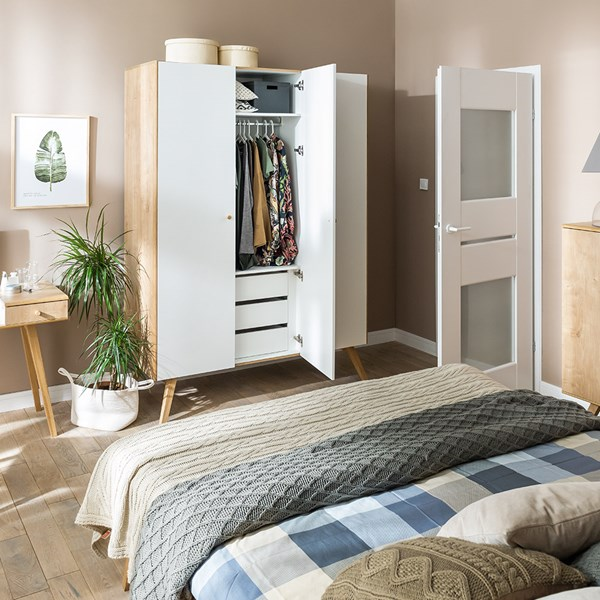 Vox Nature 3 Door Wardrobe in White & Oak Effect