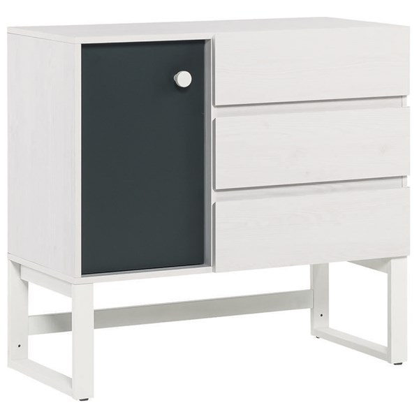 Nest 3 Drawer and Cupboard Unit in Larch Effect and Graphite