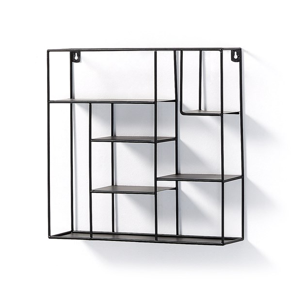 Neth Black Square Wall Shelf by La Forma
