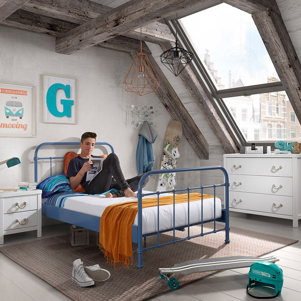 New York Small Double Kids Bed In Blue - Cuckooland | Cuckooland