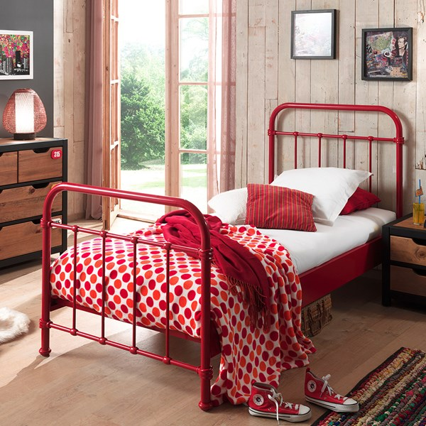 New York Metal Kids Bed in Red