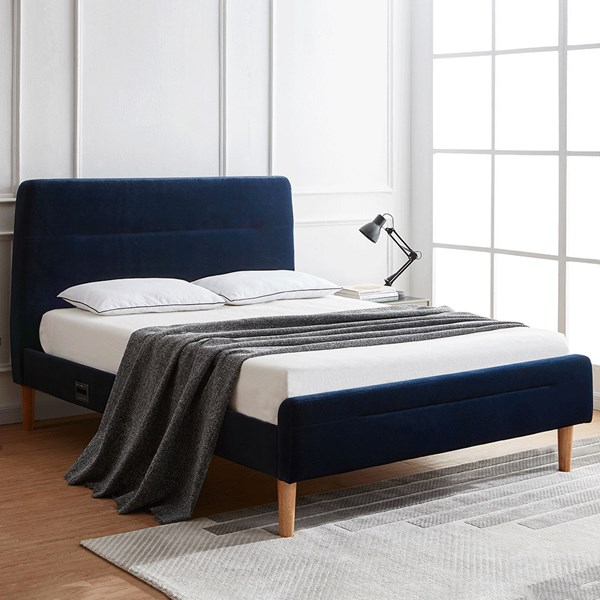 Koble Nodd Smart Bed in Blue Velvet with Wireless Charging
