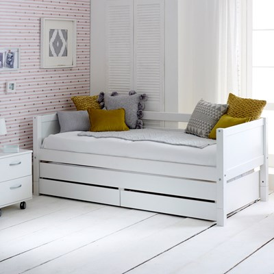 - Flexa Nordic Kids Day Bed With Trundle Bed And Drawers In White