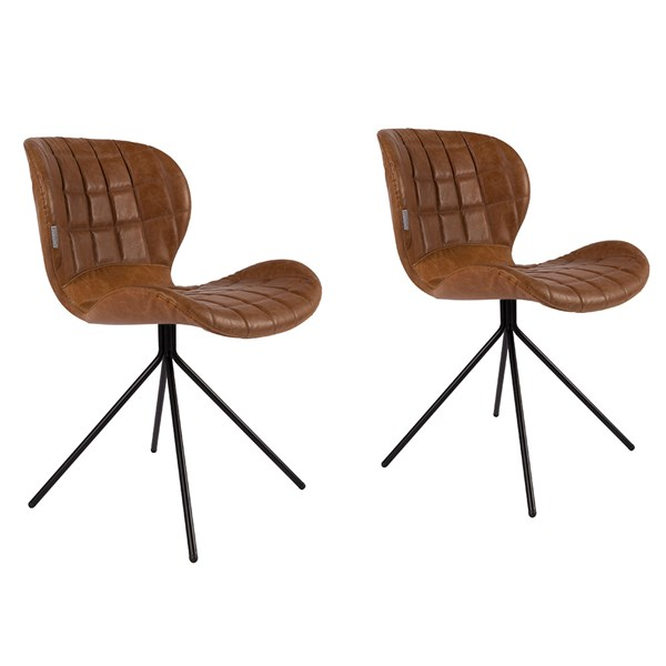 Zuiver Pair of OMG LL Dining Chairs in Brown and PU Leather